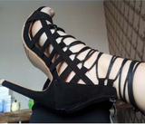 Geometric caged effect leather lace up stiletto high-heels
