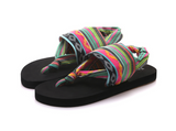 Bohemian flip-flops with stretch ankle strap