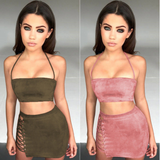 2 piece halter crop top & lace up side suede mini skirt