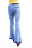 Vintage floral embroidered bell bottom bohemian jeans ~ Plus size available