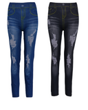 Denim jeans with worn look stretch leggings