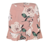 Pink floral print mini skirt with ruffles