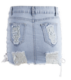 Washed distressed denim skirt with peek-a-boo lace up sides
