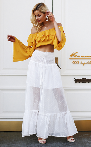 Elastic smocking white lace transparent skirt