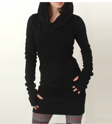 Long sleeve black slim gothic style dress with hoodie