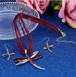 Dragonfly pendant necklace & earrings set  ~ 4 color options