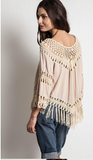 Linen patchwork crochet boho top  ~ 3 colors