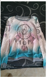 Dreamcatcher design on long sleeve boho pullover shirt