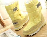 Waterproof plush lined non slip velcro strap boots