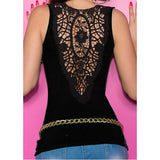 Lace back tank top with front button V-neck