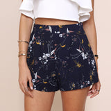 Chic floral print high waist shorts with front pockets