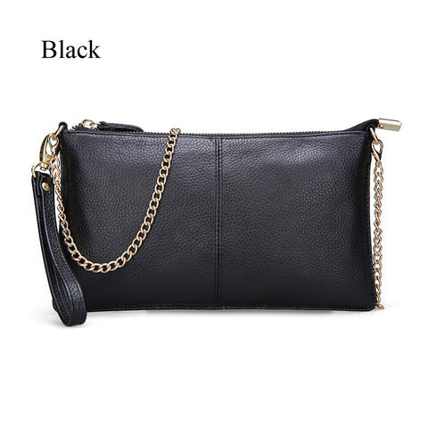 Genuine leather clutch purse w/ chain shoulder strap