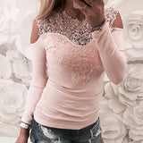 Lace designed cold shoulder long sleeve top