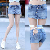 Button front denim skorts with a cute skirt look with embroidered lips