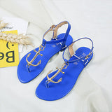Leather anchor sandals with T-strap and buckle closure