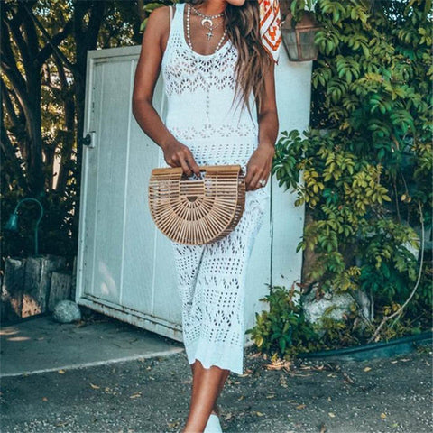 Long hollowed out bohemian tunic dress for summer