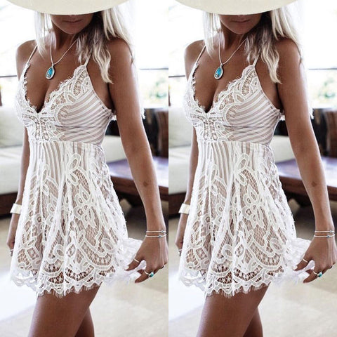 Gorgeous summer mini lace halter dress