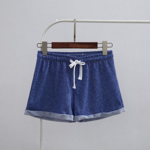 Casual loose fit cotton acrylic polyester drawstring shorts