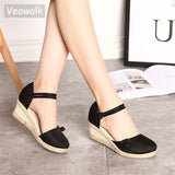 Wedge sandals ankle strap with closed top ~ 4 colors ~ 2 designs