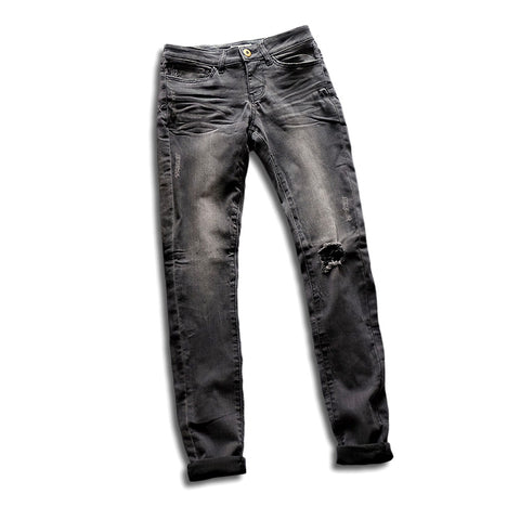 Gray stone washed distressed  jeans with stretchy fit