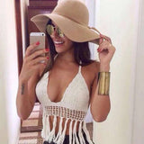 Deep V-neck crochet boho halter top with tassels