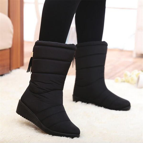 Down filled waterproof snow boots mid calf with tassels