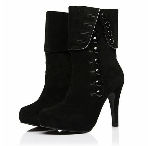 Women ankle boots high heels  suede with button side design