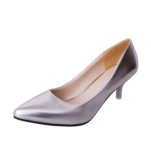 Patent leather pointed toe heels with easy slip-on