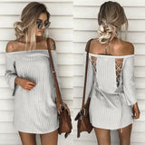 Striped off the shoulder lace up back mini dress