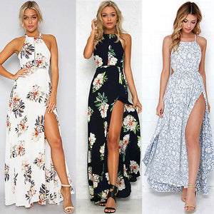 Long floral print halter sundress, sleeveless with slit