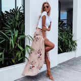 Vintage floral print long maxi skirt with high slit