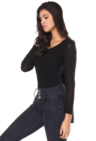Slim fit black O-neck long sleeve shirt / top