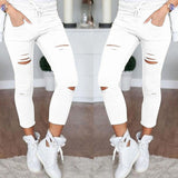 Ripped skinny stretch elastic waist jeans