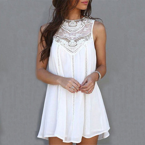 White lace sleeveless A-line summer bohemian dress
