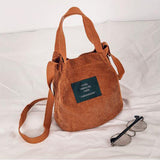 Corduroy bucket shoulder bag with hasp closure ~ 6 colors!