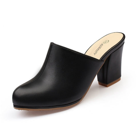 Hot black high heel clogs easy slip ons