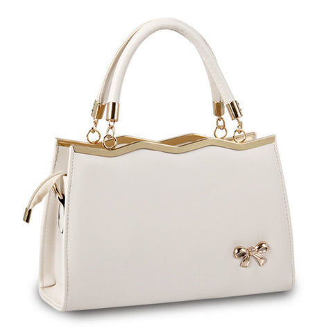 1950's style soft leather handbag with gold bow accent ~ 8 colors!