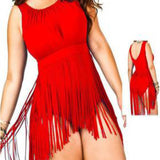 Fringed skirt one piece swimsuit in solid colors ~ Plus size
