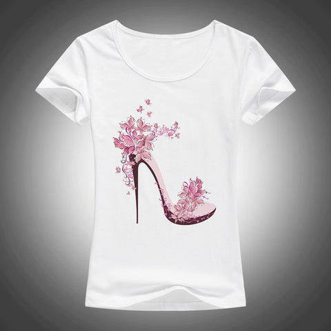 Beautiful floral high heel printed short sleeve t-shirt ~ 5 colors!