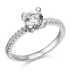 Prong Simple 1 Carat Round Crafted White Sapphire Ring