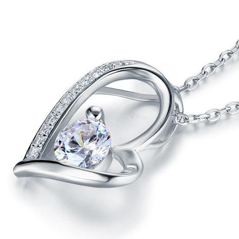 Falling Heart 1 Carat Crafted White Sapphire Necklace