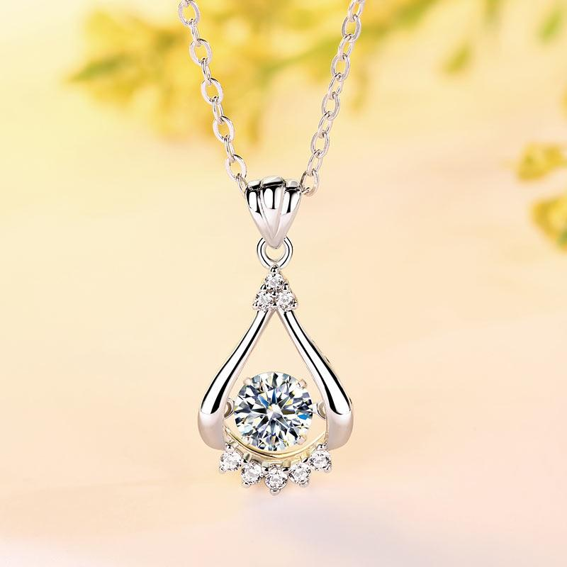 Moissanite 0.5 Carat Swaying Stone Drop Necklace