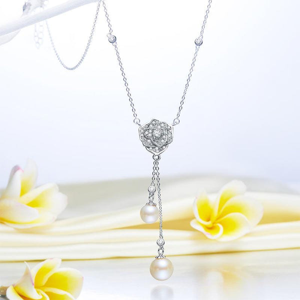 Fresh Water Pearl Rose Necklace