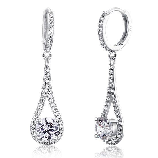 Round Cut 1 Carat Dangle Tear Drop Earrings