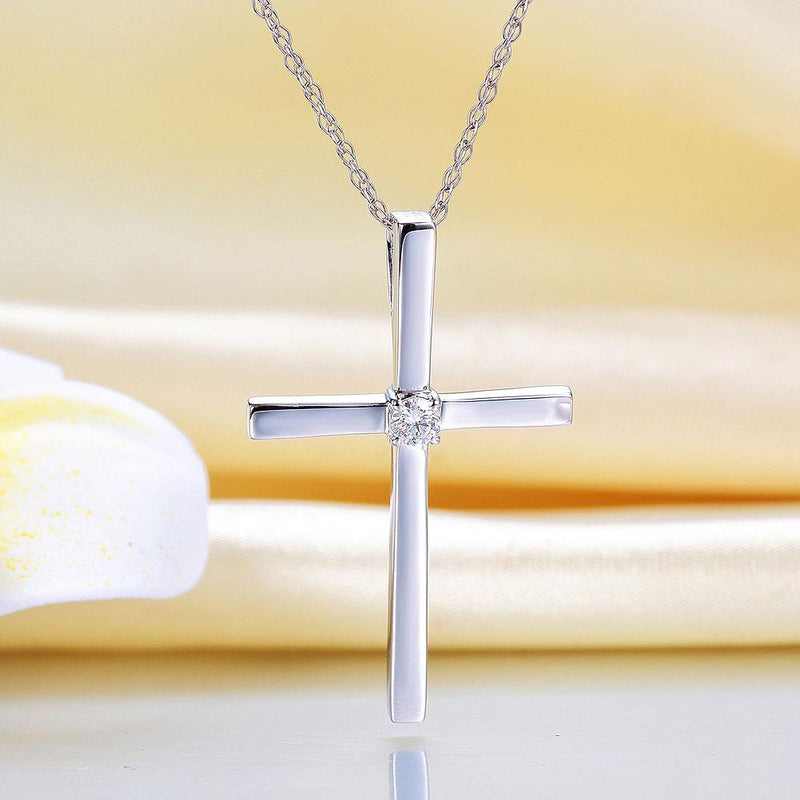 White Gold Cross Pendant Necklace 0.08 Ct Diamonds