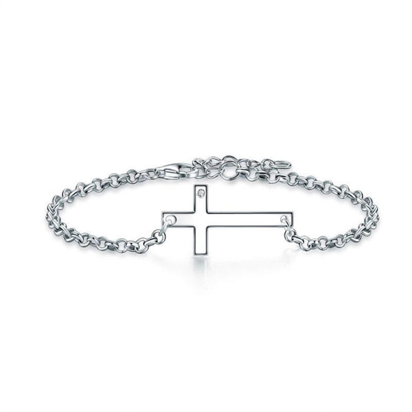 Stone Embedded Cross Chain Bracelet