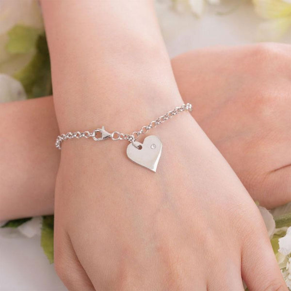 Dangle Heart Embedded Link Chain Bracelet