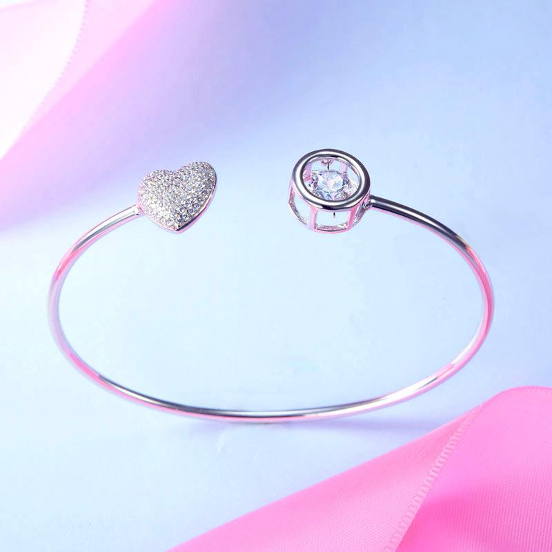 Sterling Silver, Heart, Bracelet, Bangle, Cute, 925, Daily Wear, Casual, Cocktail, Gift