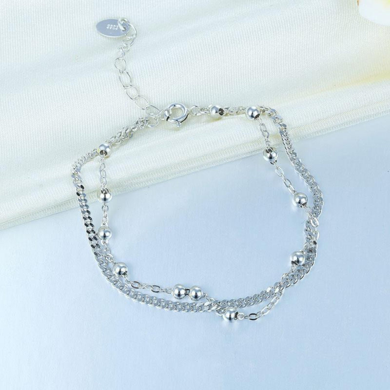 Two Size Curb Link Beaded Bracelet