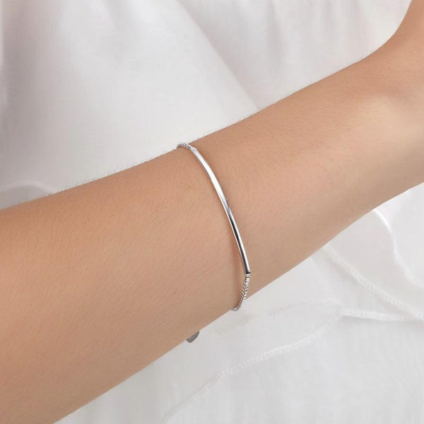Sterling Silver Box Chain Plate Bracelet